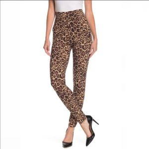 Socialite Leopard Print Ruched Leggings Tan Small
